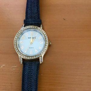 Accessories - Gruen Watch with Denim Band